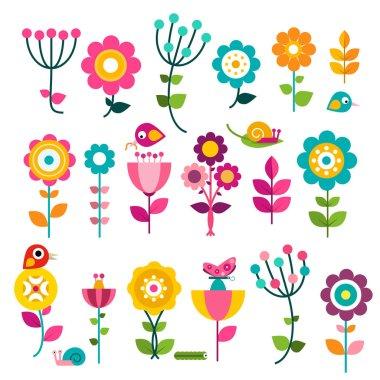 "Картина, постер, плакат, фотообои ""flowers. vector flat design flowers set isolated on white background."", артикул 185918504"