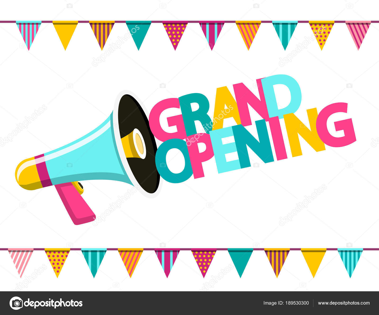 Grand Opening Colorful Text with Megaphone and Flags  Vector Flat