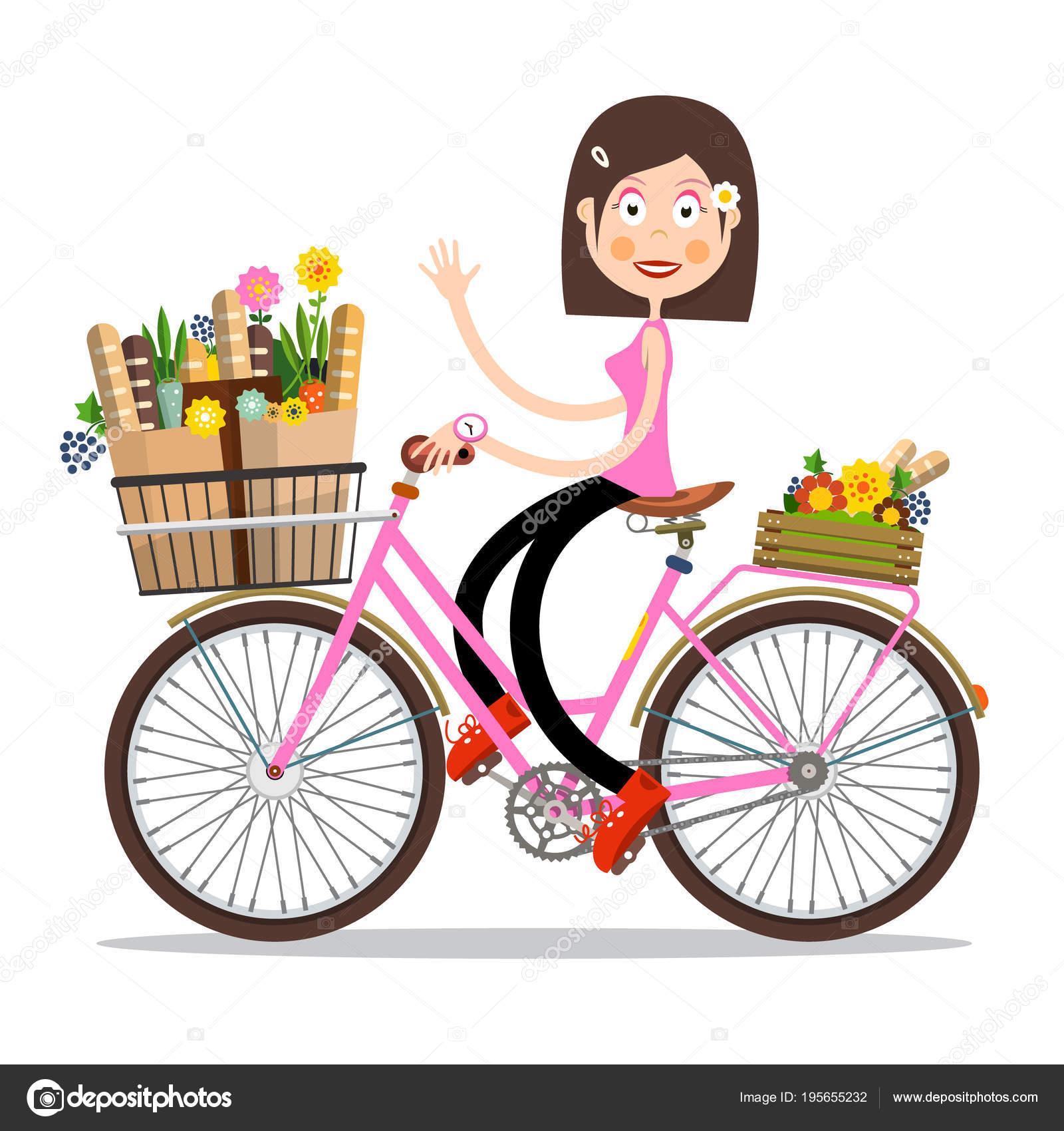 sourire de femme en agitant la bicyclette rose avec des fleurs de printemps et baguettes sur le. Black Bedroom Furniture Sets. Home Design Ideas