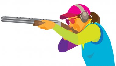 young woman is a marksman shooting skeet