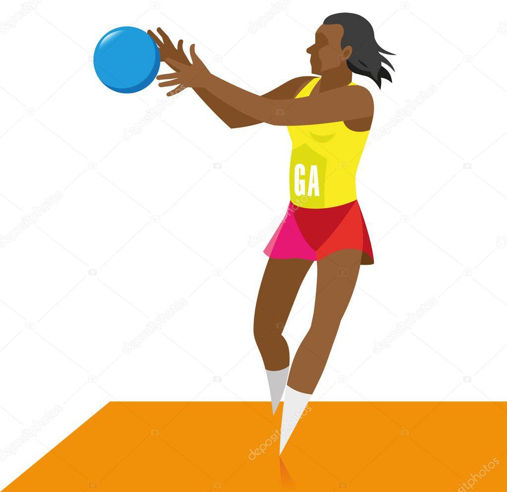 アフリカ系アメリカ人の若い女の子が受け取るネットボールの選手、 — ストックイラストレーション