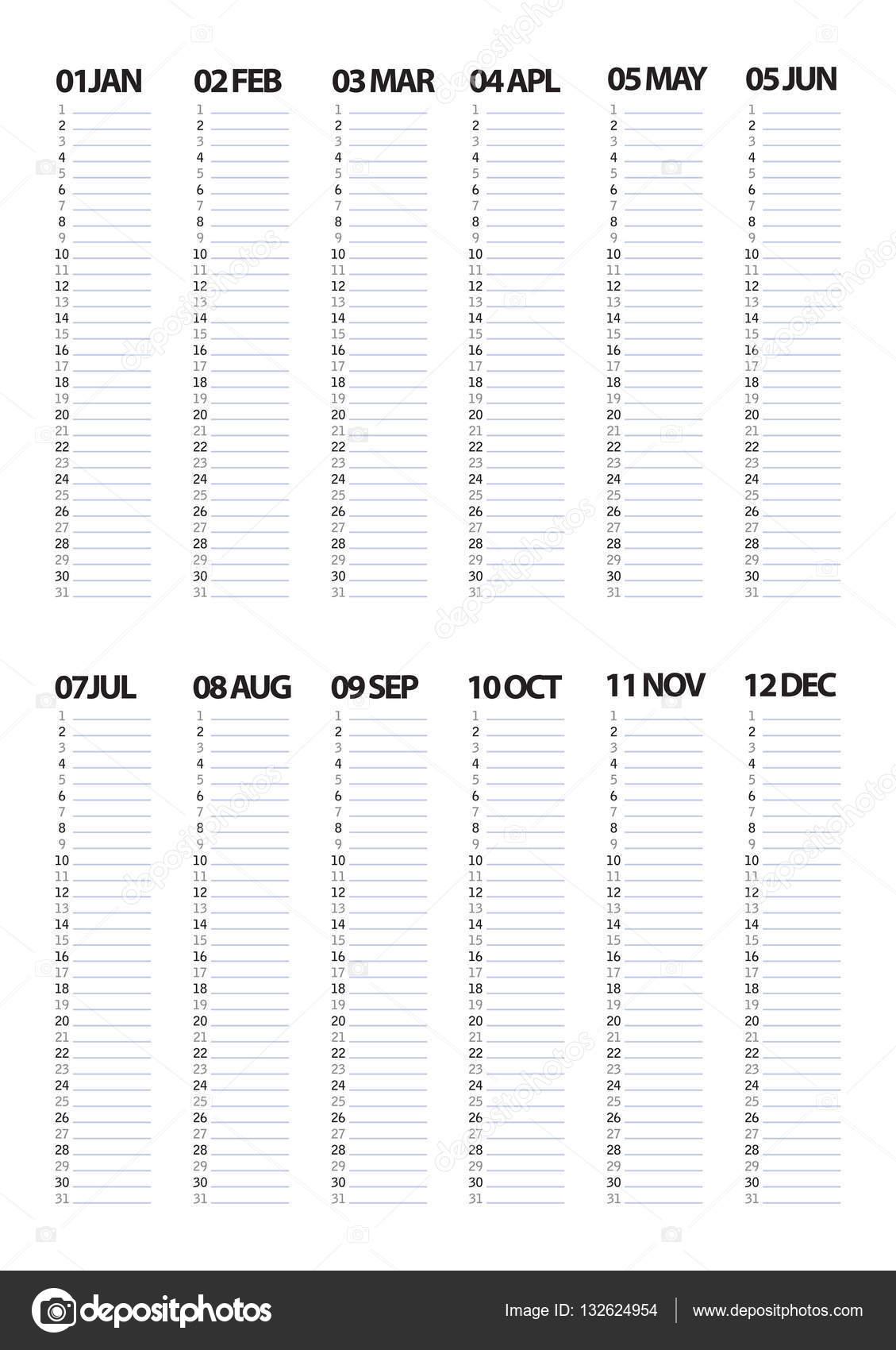 Jahr monatlich Hobel leere Vorlage — Stockvektor © melanjurga #132624954
