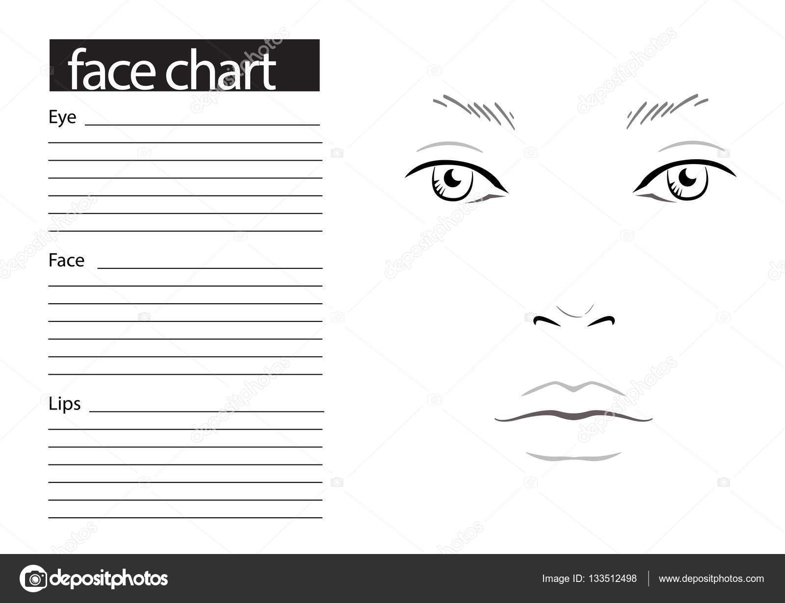 Gesicht-Diagramm Make-up Artist leer. -Vorlage. Vektor-illustration ...