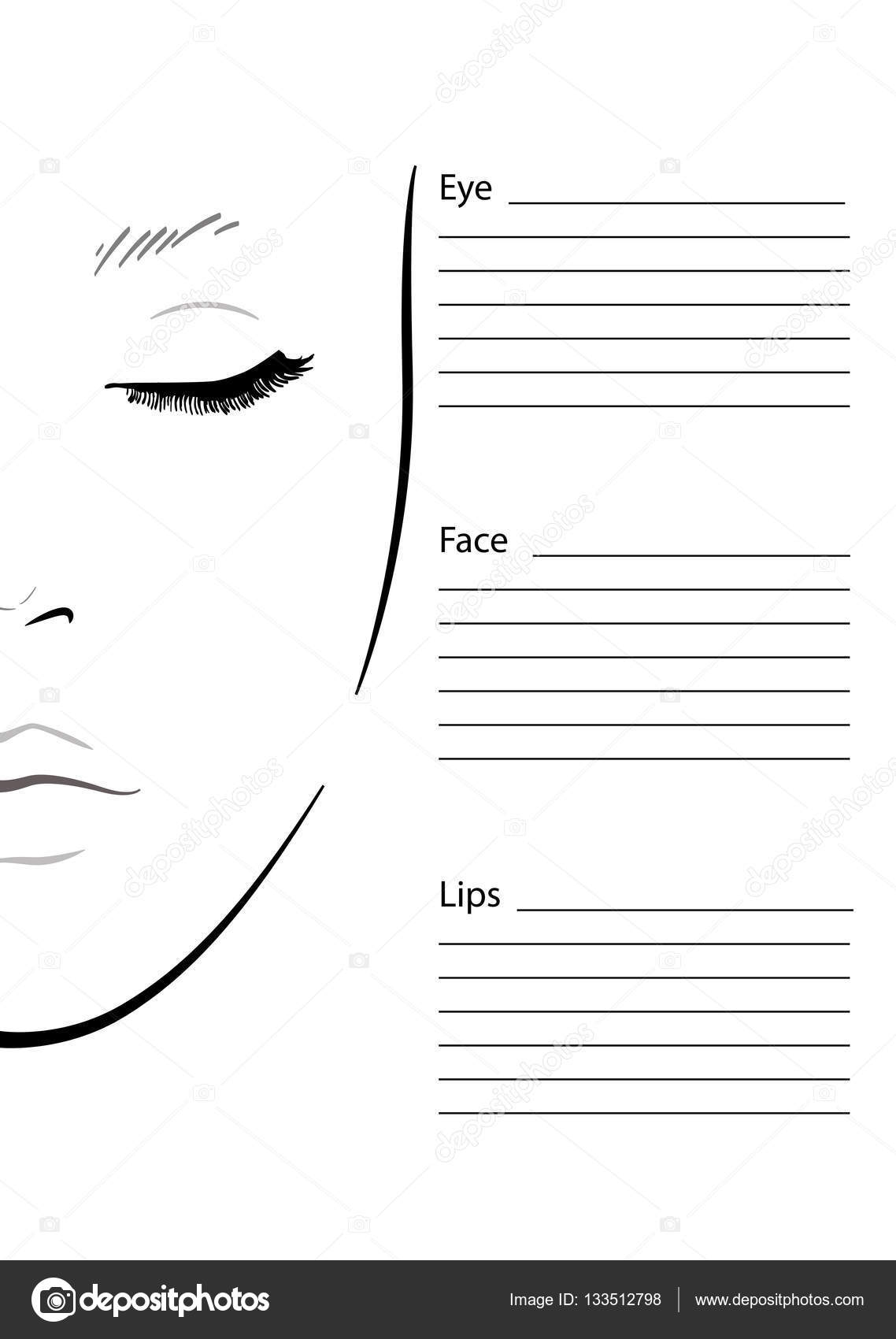 Face chart Makeup Artist Blank. Template. Vector illustration ...