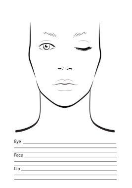 Face chart Makeup Artist Blank. Template. Vector illustration.