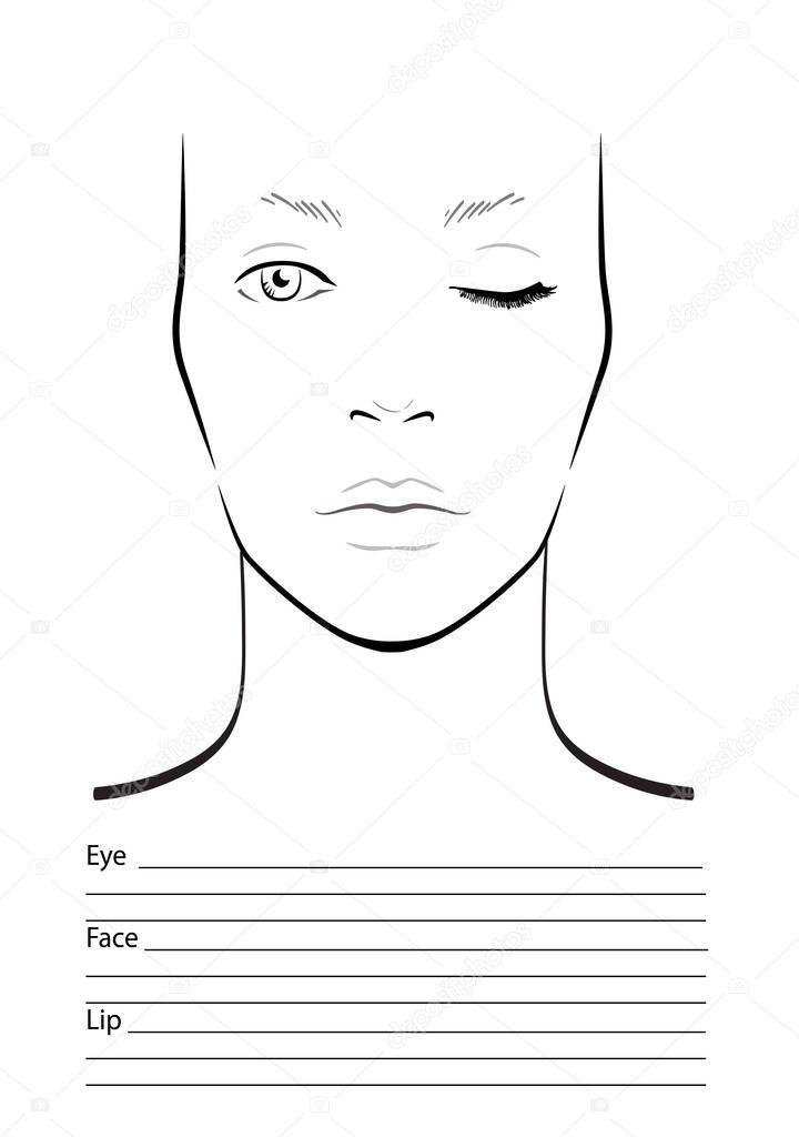 gezicht grafiek make up artiest leeg sjabloon