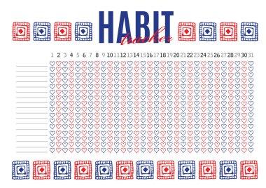 Monthly planer habit tracker blank template