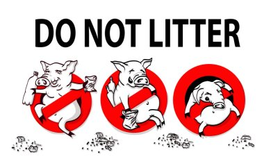 Pig line icon in prohibition red circle, No littering ban sign, forbidden symbol.