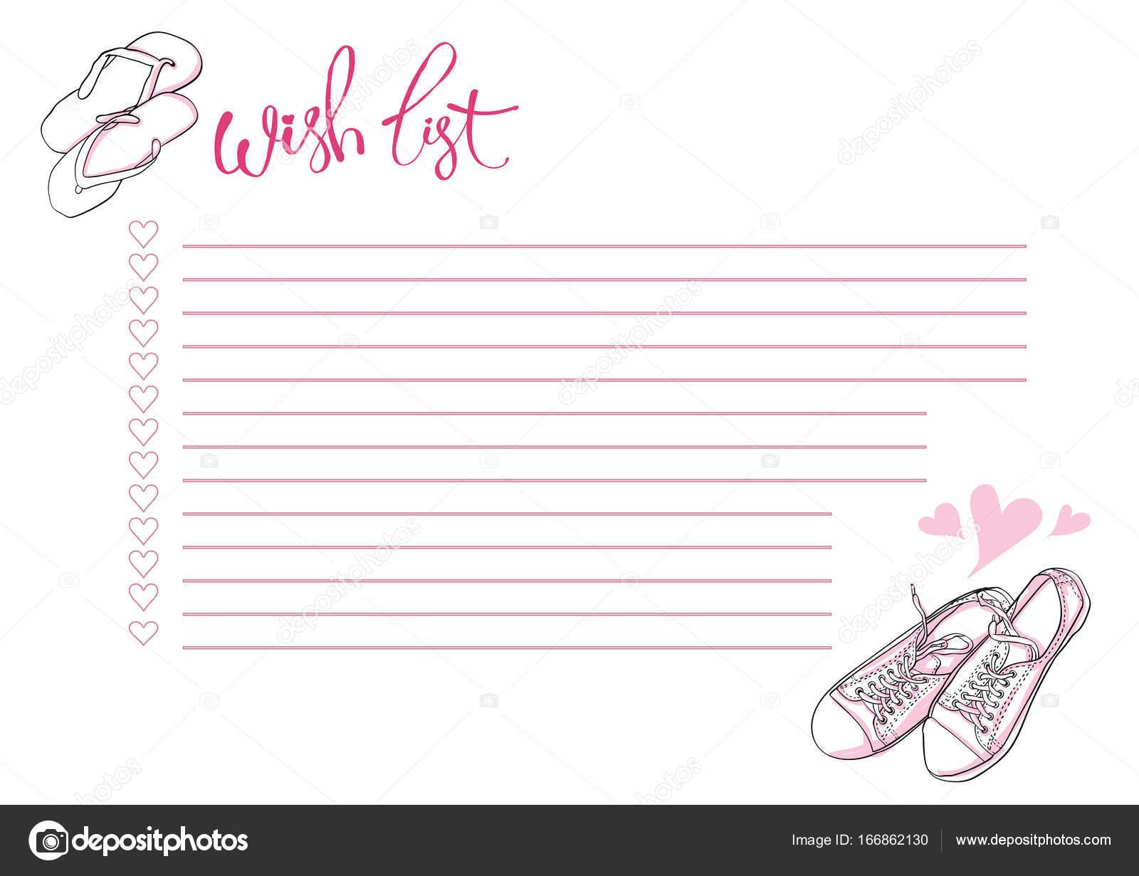 Wish List Planner Blank Template Bullet Journal Stock Vector