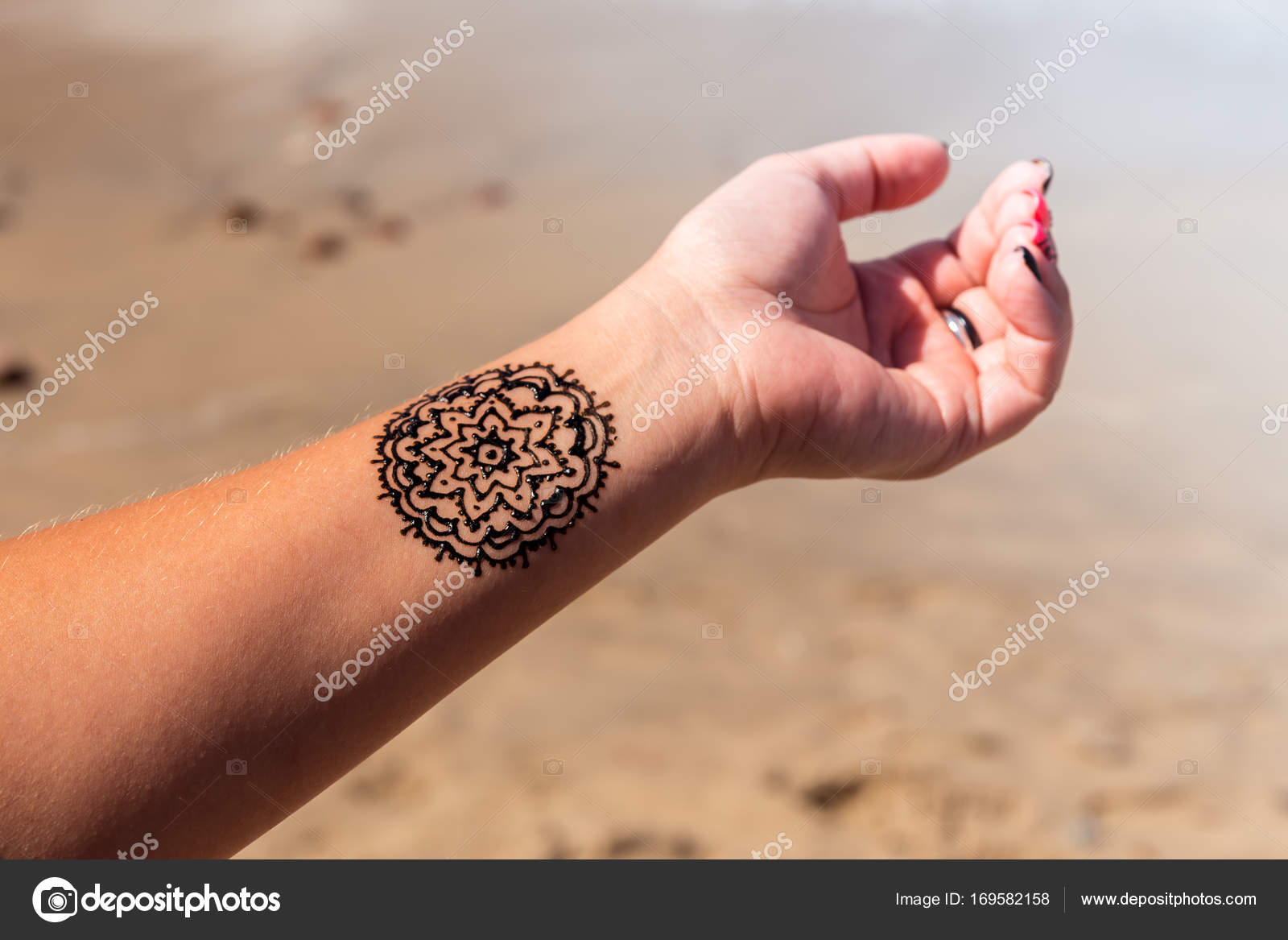 Henna Hindu Manos Tatuaje Mano Con Patrón Mandala Mehendi Henna