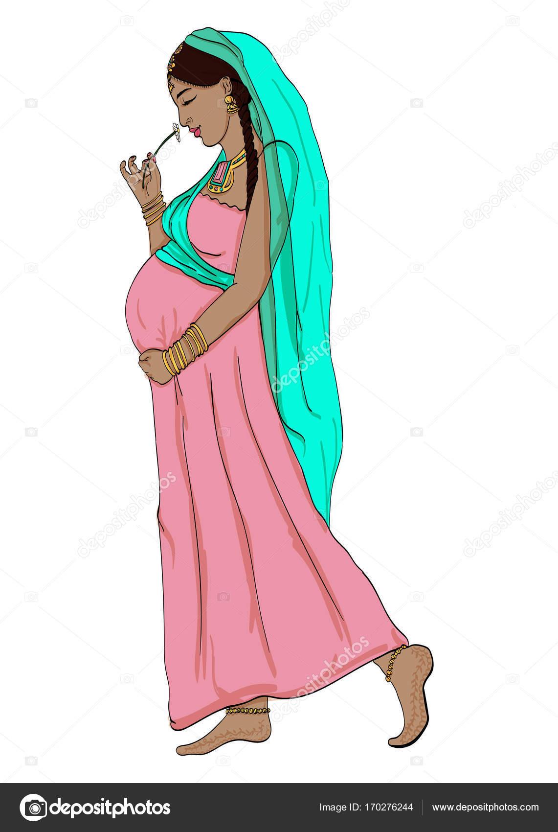 Mujer Indígena Embarazada Vestido Embarazo Está Preparada Para ...