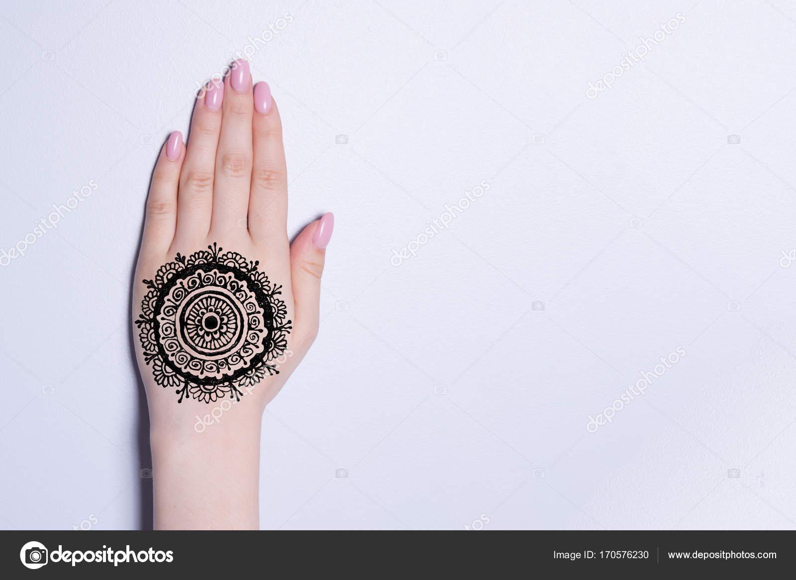 Ręka Mandala Wzór Czarny Tatuaż Henna Mehendi Zdjęcie Stockowe