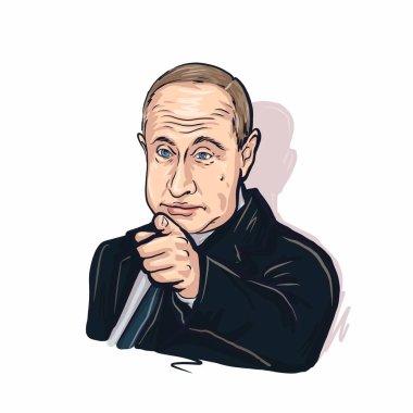 Kaliningrad, Russia, January 27 2020. President of the Russian Federation Vladimir Putin sketch portrait