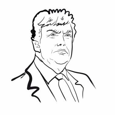 Kaliningrad, Russia,January 15, 2020: Sketch illustration of Donald Trump portrait, president of the USA.