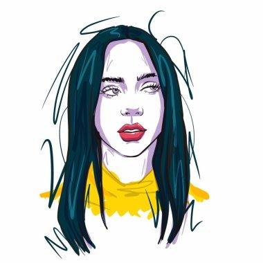 Kaliningrad, Russia February 5 2020. Portrait of Billie Eilish Sketch  illustration . Singer