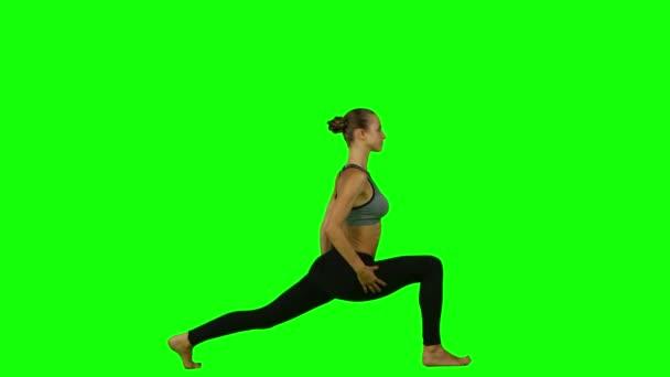 Jóga představuje ženu. Zelená obrazovka