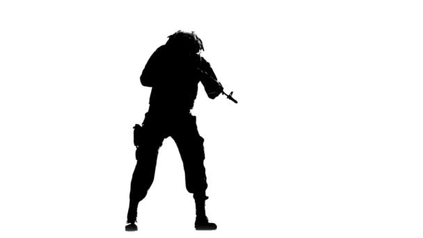 Soldier takes aim. Silhouette