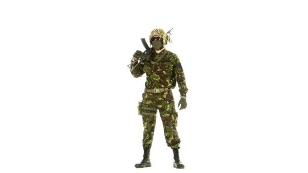Man in camouflage looks around. White backgraund
