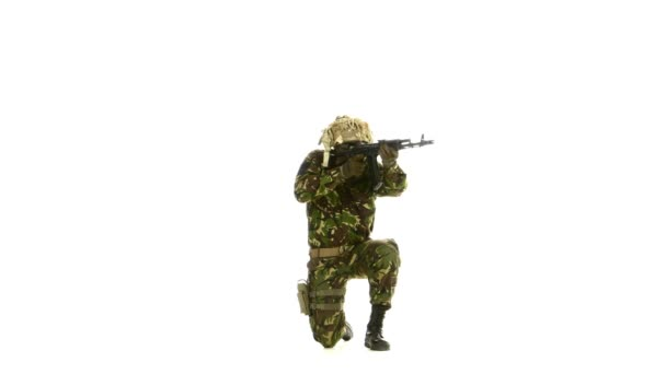 Armed soldier stands on one knee. White backgraund