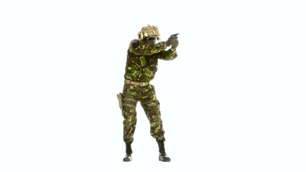 Man in camouflage clothing with a pistol. White backgraund