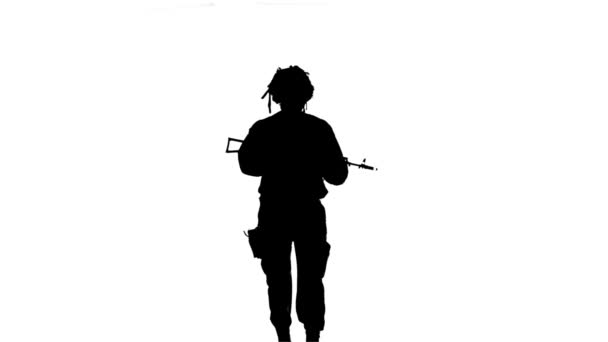 Soldier comes with weapons. Silhouette