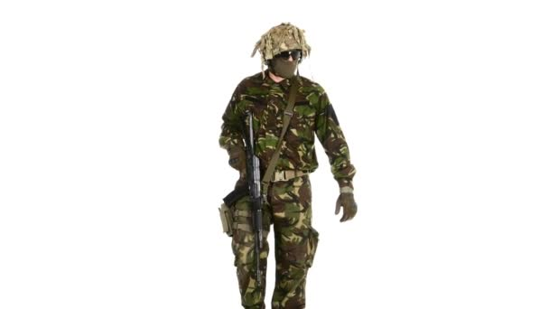 Armed soldiers is easy gait. White backgraund