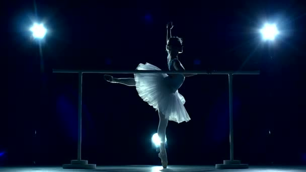 Ballerina is wearing white tutu and pointe shoes. slow motion