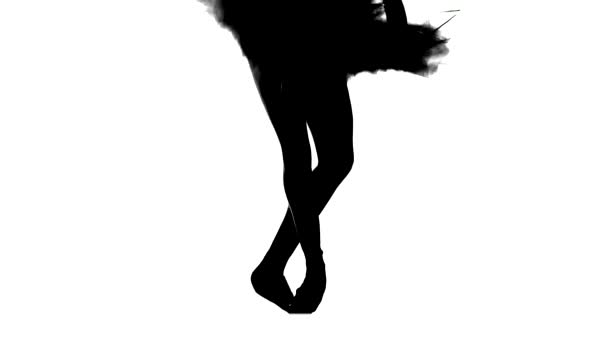 Silhouette ballerina dancing, closeup on legs and shoes, standing in pointe position. Slow motion
