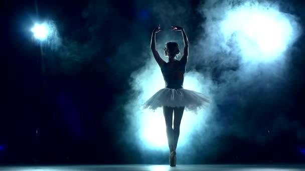 ballet dancer posing on a studio background, slow motion