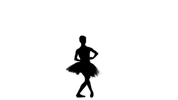 Young ballerina dancer in tutu showing her techniques, silhouette, slow motion