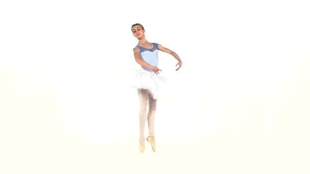 ballerina  in tutu showing her techniques, slow motion