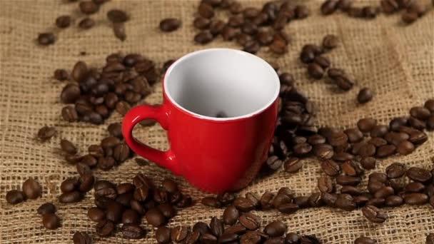 Szemes kávé hullott piros pohár. Lassú mozgás