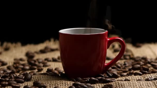 Coffee beans falling into red small cup. Slow motion