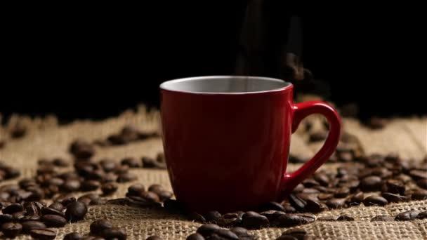 Kaffeebohnen in rote kleine Tasse fallen. Slow-motion