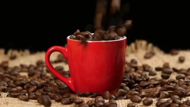 Szemes kávé esik a piros pohár. Fekete. Lassú mozgás