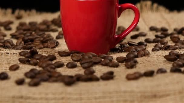 Szemes kávé hullott piros kis pohár. Lassú mozgás. CAM feljebb