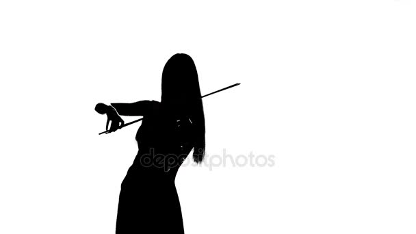 Woman playing the fiddle. Silhouette on white background. Slow motion
