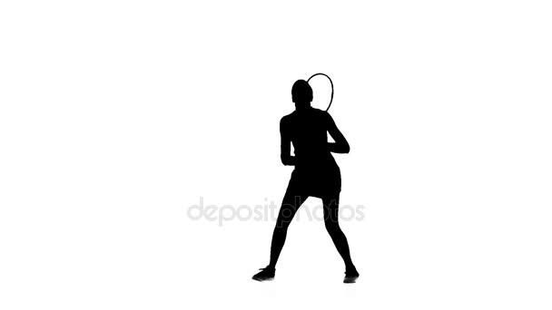 Profesionální tenista rakety a míčky. Silueta. Bílé pozadí