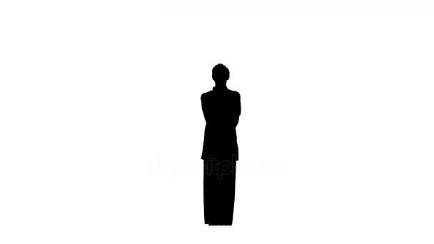 Karate nebo taekwondo muž v kimonu, to ukazuje různé prvky, silueta
