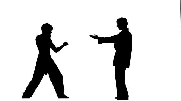Karate, taekwondo teszi több komló körül, Silhouette