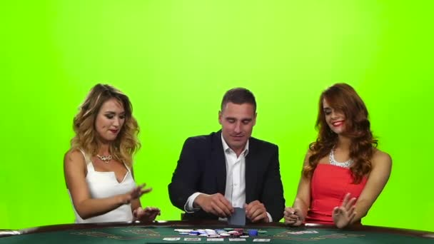 Man upset of two beautiful girls - beat their cards