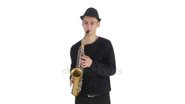 Szaxofonos kalap a dallamot játszik a szaxofon