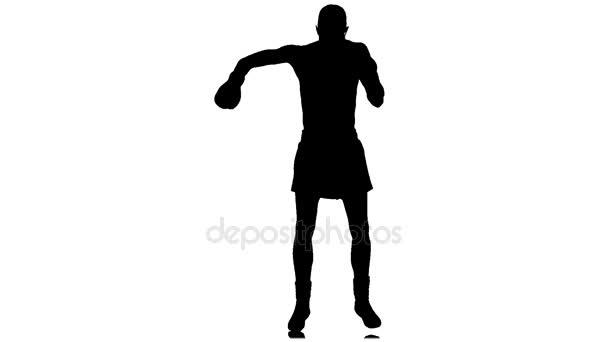 Boxer di riscaldamento prima della lotta. Sagoma, rallentatore