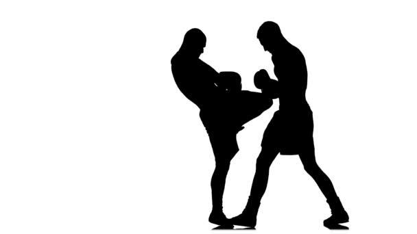 Kickboxers fulfill knee kick to the body. Black silhouette