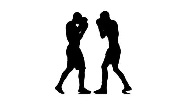 Pravý a levý hák v tréninku dvou boxerů