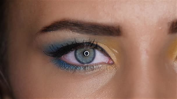 Girl opens her eyes and her pupils dilate and constrict. Close up. Slow motion