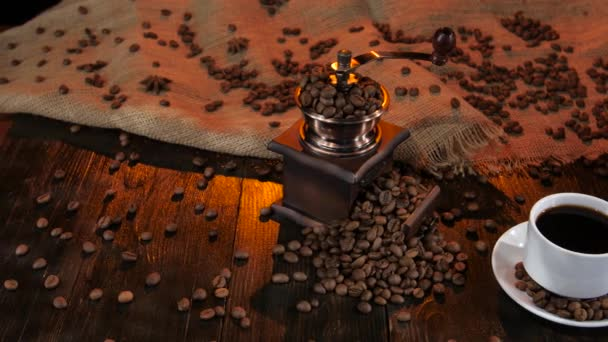 Ceramic coffee maker on table with cup of black coffee