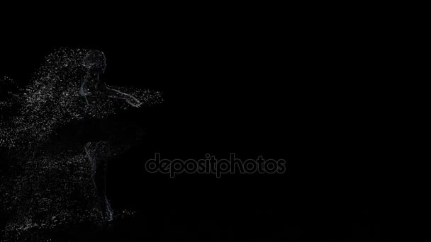 Computer graphics of light particles in slow motion, fouette ballerina