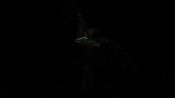 Abstraktní animace letící částice tančící baletka dívka v pomalém pohybu
