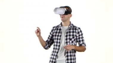 Man works with files in virtual reality glasses. White background